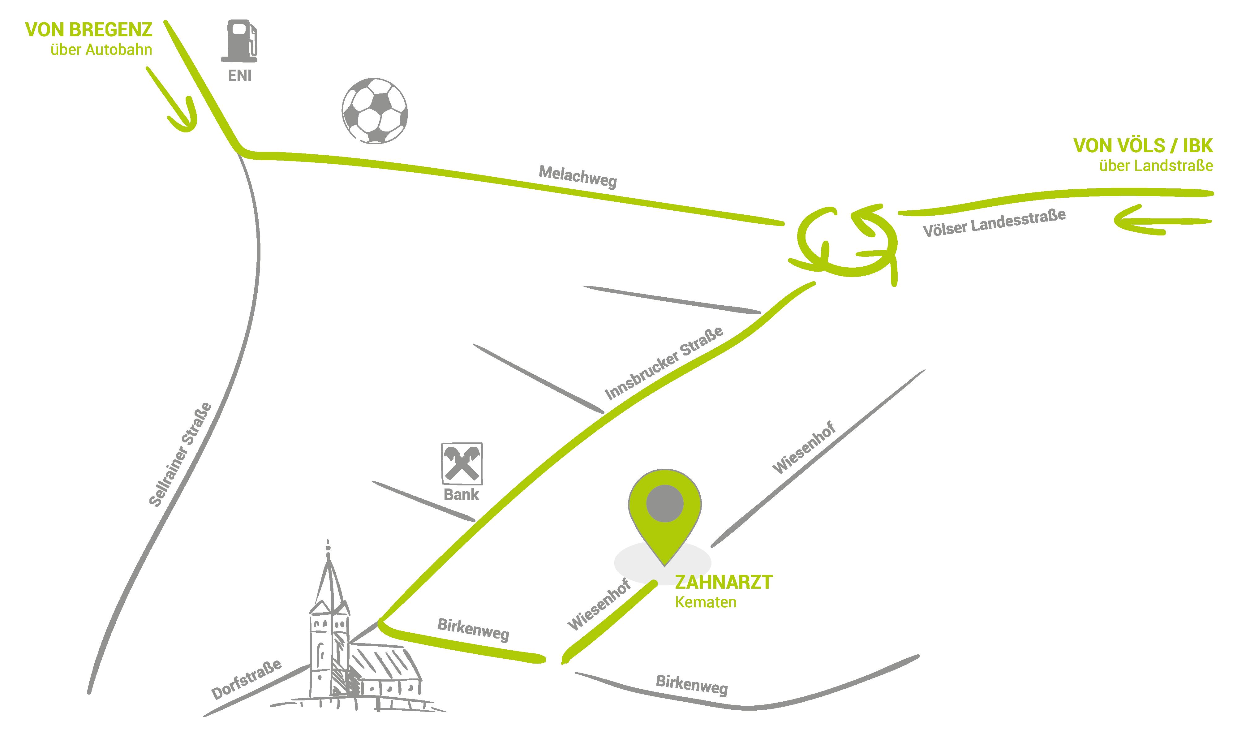 Anfahrt-Kematen-Zahnarzt-Innsbruck-Land